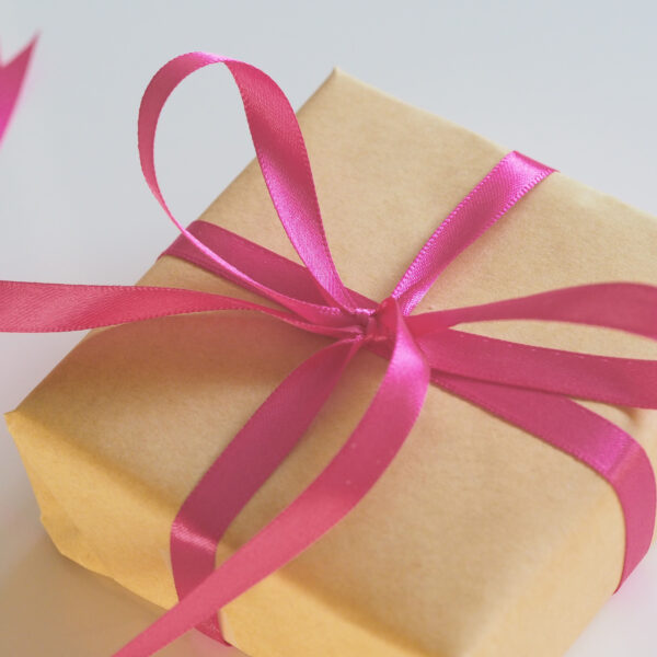 Present wrapped with a ribbon