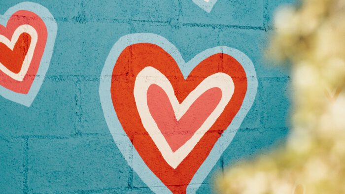 Hearts painted on a wall